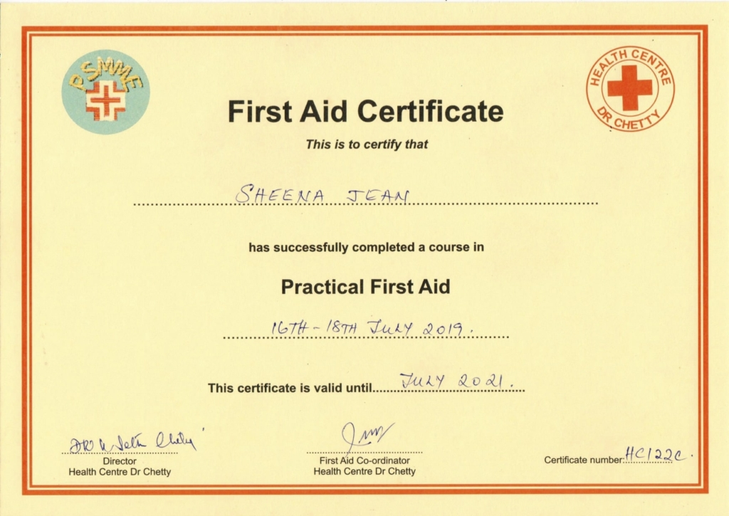 First Aid Course Certificate 2019, Seychelles