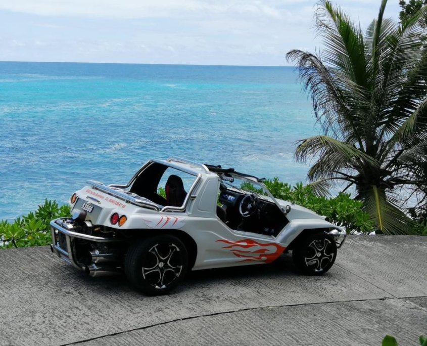 Beach Buggy for island tour on the Seychelles