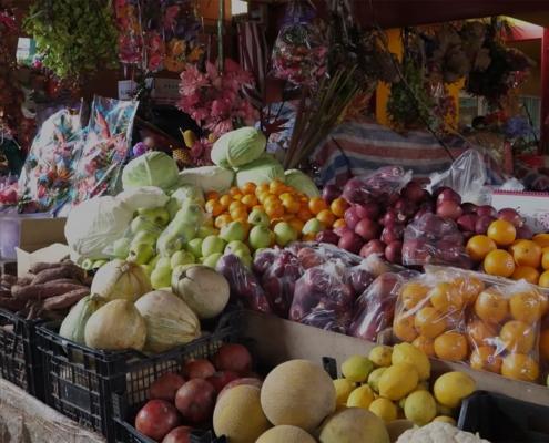 Frukt och grönsaker på Seychellernas marknad