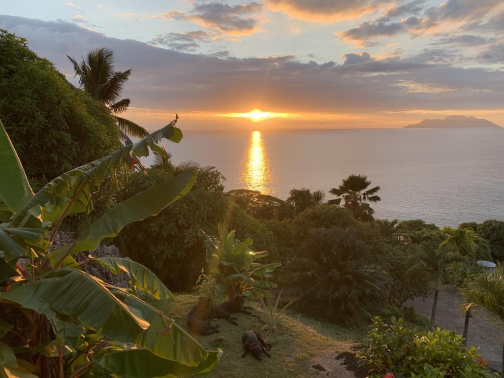 塞舌尔的夕阳与剪影景象