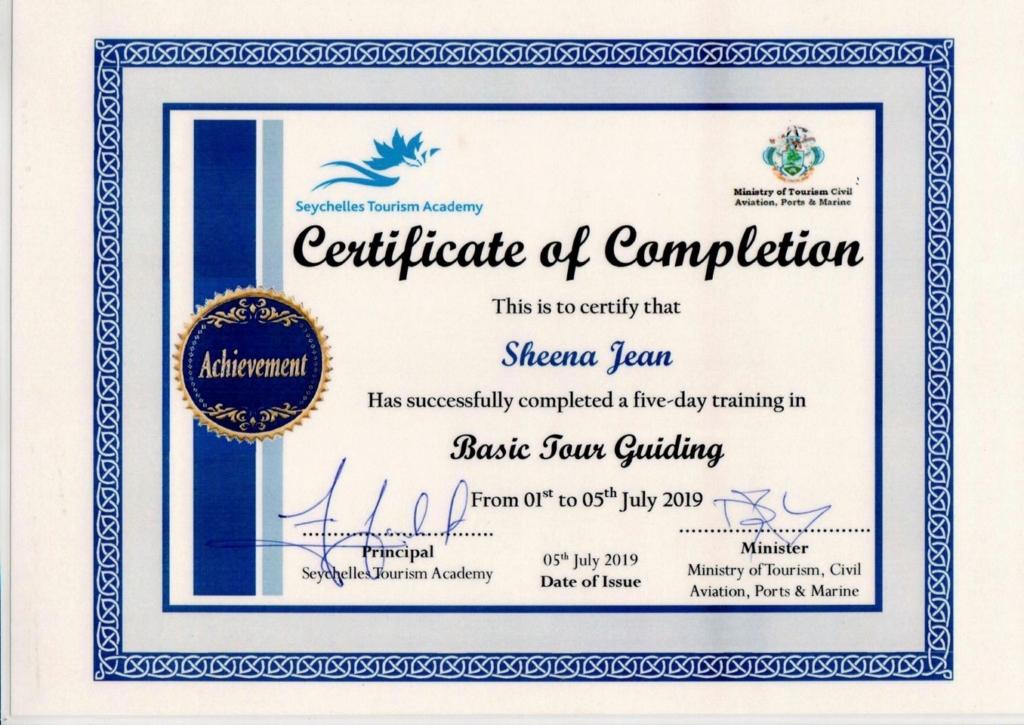 塞舌尔希娜的导游证书,塞舌尔